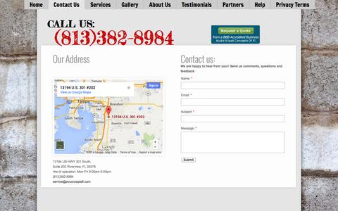 Screenshot of Contact Page avconceptsfl.com - Audio Visual Concepts of Florida inc. - Online : Contact - captured Oct. 4, 2014