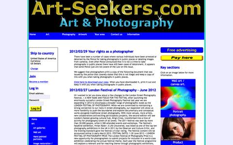Screenshot of Blog art-seekers.com - Photography blog including news and tips. - captured Feb. 6, 2016