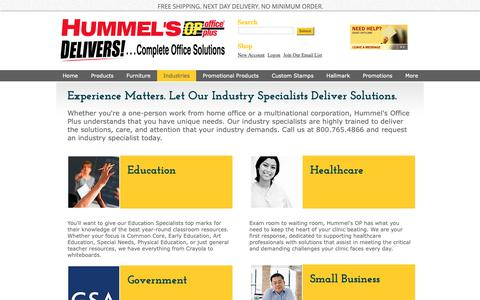 Screenshot of Terms Page hummelsop.com - Industry Specialists - Hummels Office Plus - captured Sept. 30, 2018