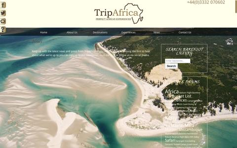Screenshot of Press Page tripafricatravel.com - News - TripAfrica TravelTripAfrica Travel - captured Aug. 15, 2015