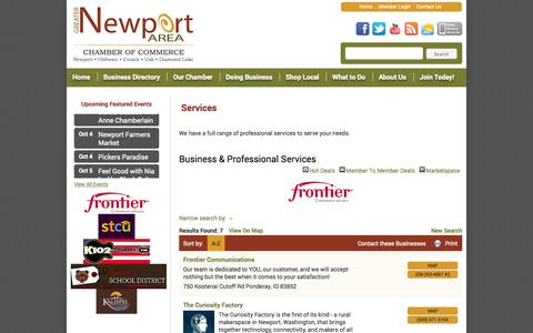 Screenshot of Services Page newportareachamber.com - Business & Professional Services - Greater Newport Area Chamber and Visitors Bureau - Greater Newport Area Chamber of Commercer - captured Oct. 3, 2014