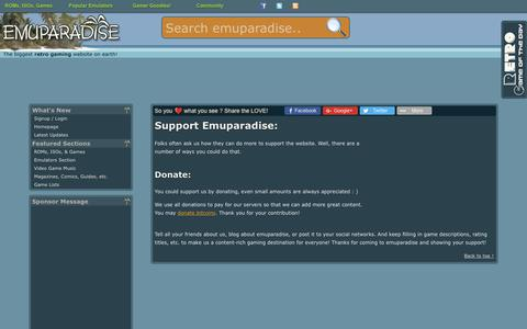 Screenshot of Support Page emuparadise.me - Support Emuparadise.org - captured June 20, 2017