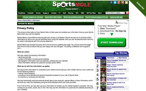 Privacy Policy - Sports Mole