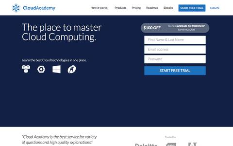 Screenshot of Home Page cloudacademy.com - Learn Cloud computing, Test your Skills and get a Certification - captured Oct. 1, 2015