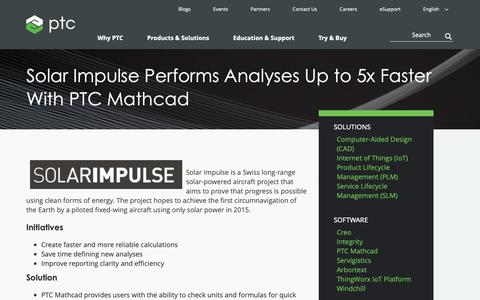 Screenshot of Case Studies Page ptc.com - Solar Impulse Performs Analyses Up to 5x Faster With PTC Mathcad | PTC - captured Nov. 13, 2018