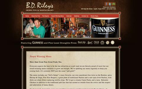 Screenshot of Menu Page bdrileys.com - Award Winning Menu | BD Riley's Irish Pub | 6th Street - Austin Texas - captured Oct. 2, 2014