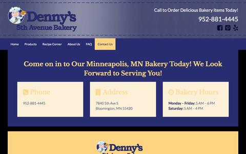 Screenshot of Contact Page dennysbakery.com - Call or Visit Denny's 5th Avenue Bakery in Minneapolis, MN today! - captured April 19, 2016