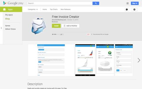 Screenshot of Android App Page google.com - Free Invoice Creator - Android Apps on Google Play - captured Oct. 23, 2014