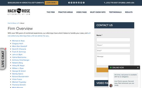 Screenshot of About Page unionlawfirm.com - About New York Personal Injury Lawyers, NYC Injury Attorney | Hach & Rose, LLP - captured Sept. 22, 2019