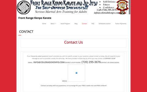 Screenshot of Contact Page coloradokenpo.com - Contact – Front Range Kenpo Karate - captured Feb. 10, 2016