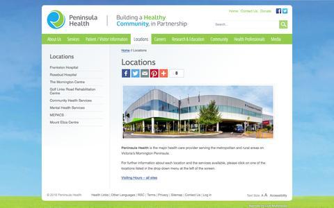 Screenshot of Locations Page peninsulahealth.org.au - Locations - Peninsula Health - captured Jan. 26, 2016