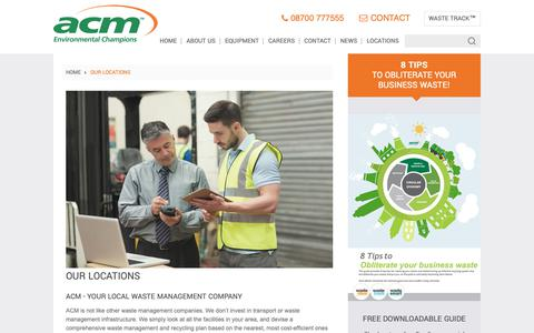 Screenshot of Locations Page acmplc.com - Your Local Waste Management Company - ACM Environmental - captured Oct. 2, 2018
