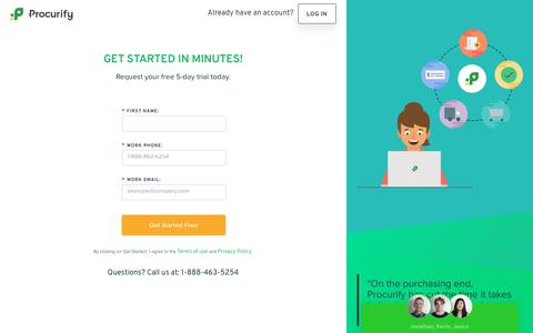 Screenshot of Signup Page procurify.com - Start Your Free Trial - captured July 27, 2017