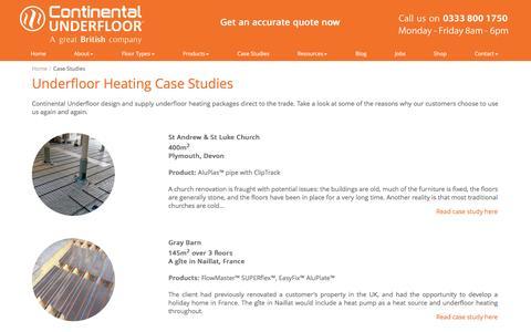 Screenshot of Case Studies Page ufh.co.uk - Underfloor Heating Systems – Our Case Studies - captured Nov. 11, 2016