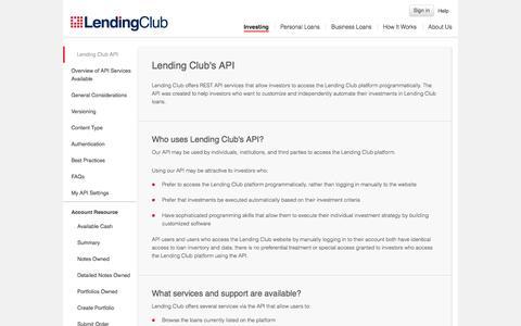 Screenshot of Developers Page myinstantoffer.com - Lending Club's API | Lending Club - captured Oct. 31, 2014