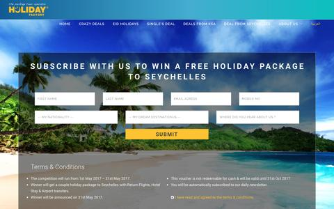 Screenshot of Signup Page holiday-factory.com - Holiday Factory - The Package Tour Operator - captured May 20, 2017