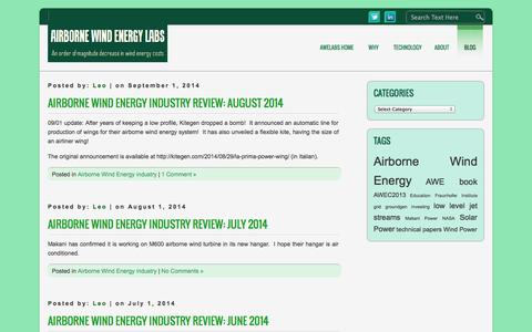 Screenshot of Blog awelabs.com - Airborne Wind Energy Labs » The AWEsome Blog - captured Oct. 4, 2014