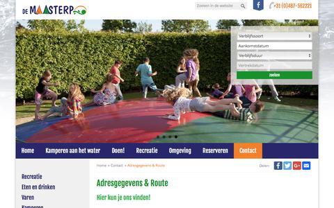 Screenshot of Contact Page demaasterp.nl - Adresgegevens & Route - De Maasterp - captured Oct. 18, 2016