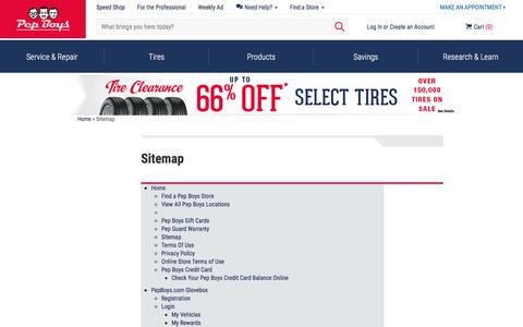 Sitemap, Website Framework | Pep Boys
