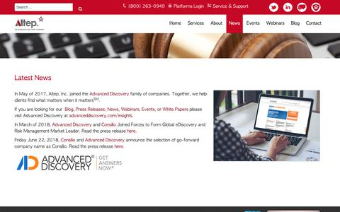 Screenshot of Press Page altep.com - News | Altep, Inc. - captured Sept. 30, 2018