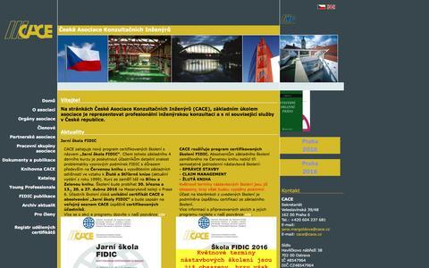 Screenshot of Home Page cace.cz - CACE - Česká asociace konzultačních inženýrů - captured March 12, 2016