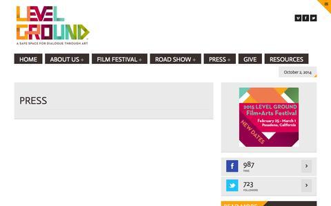 Screenshot of Press Page onlevelground.org - PRESS   Level Ground - captured Oct. 2, 2014