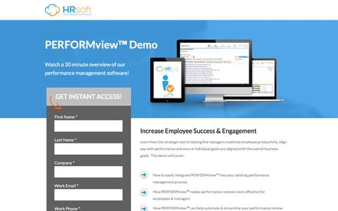 Screenshot of Landing Page hrsoft.com - Performance Management Software Demo   HRsoft - captured Feb. 14, 2017