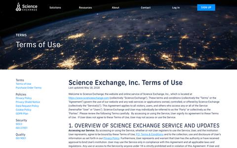 Screenshot of Terms Page scienceexchange.com - Science Exchange - Order experiments from the world's best labs - captured Feb. 7, 2019
