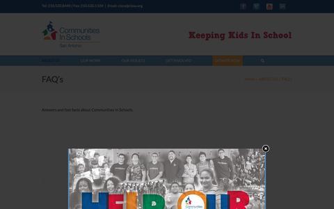 Screenshot of FAQ Page cissa.org - FAQ's - Communities In Schools - San Antonio - captured Jan. 30, 2016