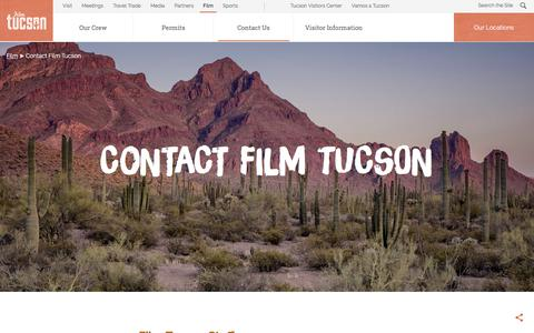 Screenshot of Contact Page visittucson.org - Contact Film Tucson | Visit Tucson - captured June 14, 2018