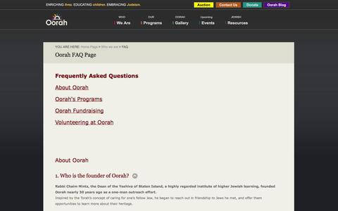 Screenshot of FAQ Page oorah.org - Oorah Faq | Our Frequently Asked Questions - captured Oct. 9, 2014