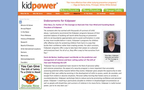 Screenshot of Testimonials Page kidpower.org - Endorsements | Kidpower Teenpower Fullpower International - captured Sept. 24, 2014