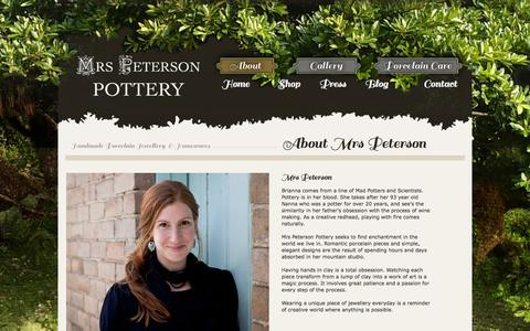 Screenshot of About Page mrspetersonpottery.com - About «  Mrs Peterson Pottery - captured Oct. 26, 2014