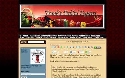 Screenshot of Testimonials Page frankspickledpeppers.com - Frank's Pickled Peppers - captured Sept. 30, 2014