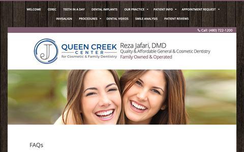 Screenshot of FAQ Page smilesbydrjafari.com - Queen Creek dentist, Gilbert dentist, Chandler Cosmetic dentist, Family Dentist, Invisalign, Zoom, - captured Sept. 30, 2018