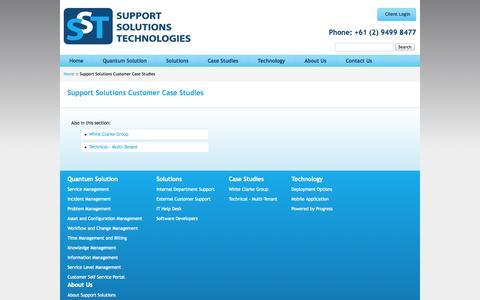 Screenshot of Case Studies Page support.com.au - Support Solutions Customer Case Studies - captured Oct. 7, 2014