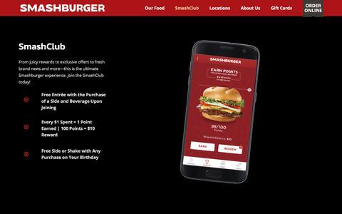 Screenshot of Signup Page Login Page smashburger.com - SmashClub - Smashburger - captured July 21, 2018