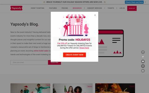 Screenshot of Blog yapsody.com - Yapsody Blog   Event Ticketing Articles   Event Trends - captured July 27, 2019