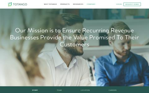 Screenshot of About Page totango.com - About Us | Totango Helps Recurring Revenue Businesses Grow - captured June 21, 2017