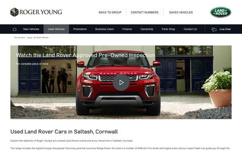 Screenshot of rogeryoung.co.uk - Used Land Rover Cars | Saltash, Cornwall | Roger Young Land Rover - captured Jan. 31, 2017