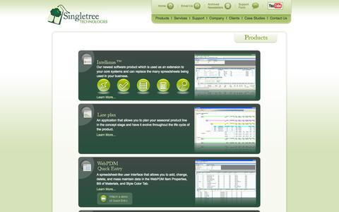 Screenshot of Products Page singletreetech.com - SingleTree Technologies - captured Oct. 7, 2014