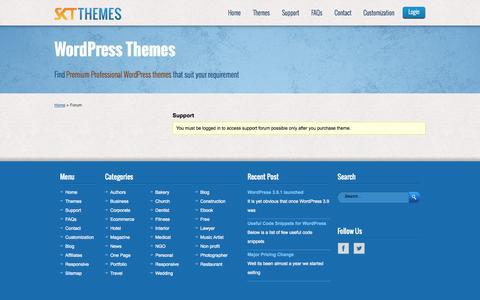 Screenshot of Support Page sktthemes.net - Forums   SKT Themes - captured Sept. 19, 2014