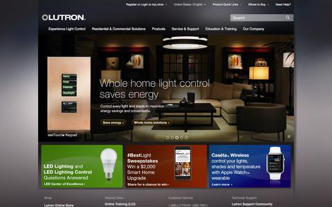 Screenshot of Products Page lutron.com - Lutron Electronics, Inc. - Dimmers And Lighting Controls - captured Jan. 28, 2016