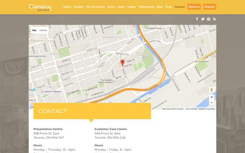 Screenshot of Contact Page canarydistrict.com - Contact - The Canary District - captured May 8, 2016