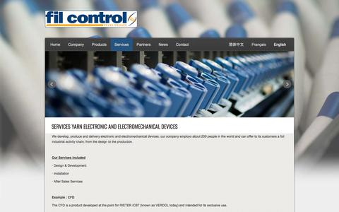 Screenshot of Services Page filcontrol.com - Services Yarn electronic and electromechanical devices - Fil Control - captured Oct. 13, 2017