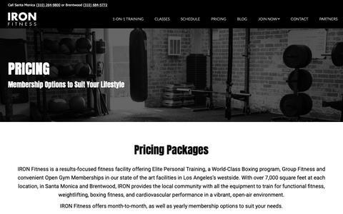 Screenshot of Pricing Page ironla.com - Pricing - Iron LA - captured Oct. 2, 2018