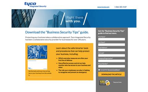 Screenshot of Landing Page tycois.com - Download the Business Security Tips Guide | TycoIS - captured Oct. 3, 2016
