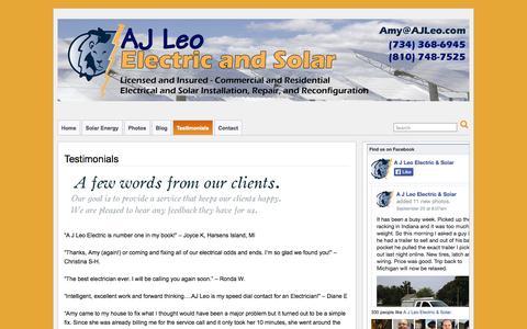 Screenshot of Testimonials Page ajleo.com - Testimonials » A J Leo Electric & Solar - captured Oct. 2, 2014