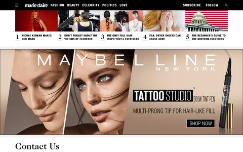 Screenshot of Contact Page marieclaire.com - Contact Marie Claire Magazine   Submission Guidelines - captured Sept. 21, 2018