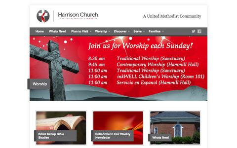 Screenshot of Home Page harrisonchurch.org - Harrison Church - A United Methodist Community - captured Jan. 23, 2015